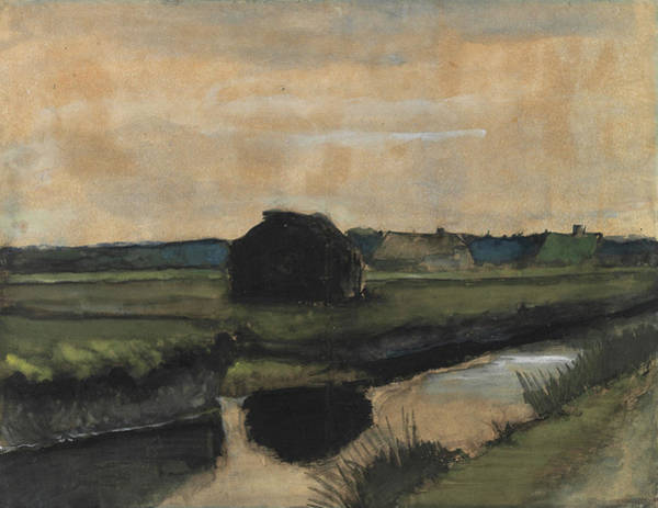 Ditch Painting - Landscape With A Stack Of Peat And Farmhouses by Vincent Van Gogh