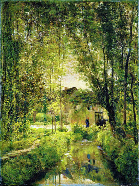 Wall Art - Painting - Landscape With A Sunlit Stream - Digital Remastered Edition by Charles-Francois Daubigny