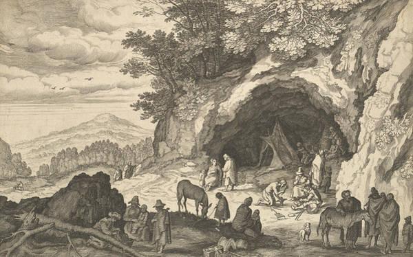 Relief - Landscape With Gypsy Camp by Aegidius Sadeler