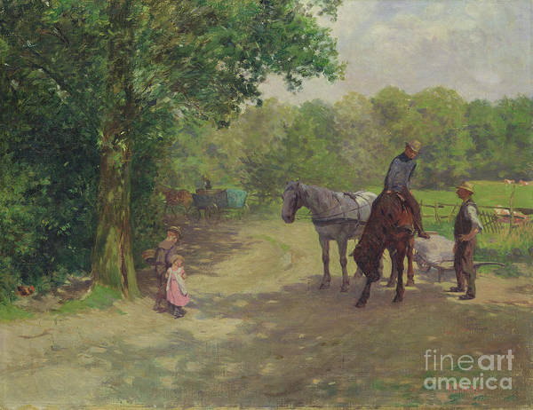 Wall Art - Painting - Landscape With Horse And Cart by Arthur Siebelist