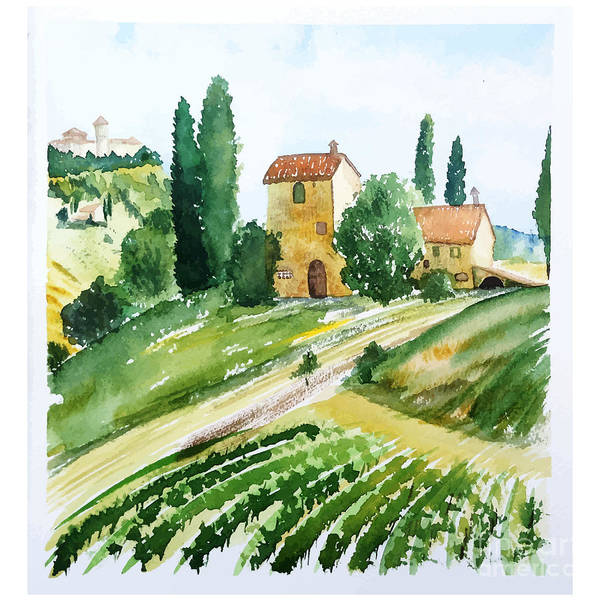 Vines Wall Art - Digital Art - Landscape With Houses, Watercolor by Jullyg