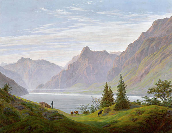 Alpine Meadow Painting - Landscape With Mountain Lake, Morning by Caspar David Friedrich