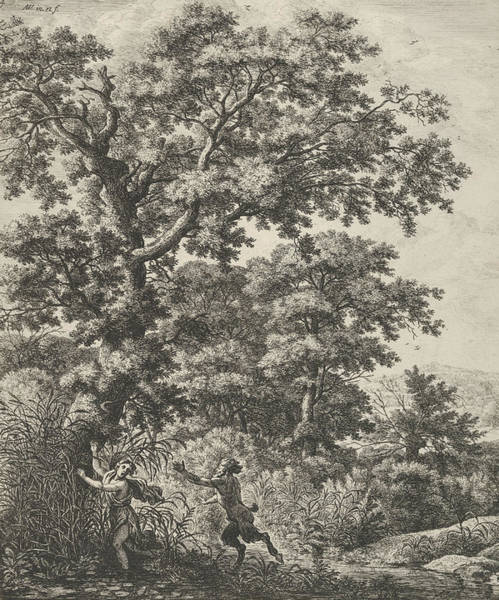 Wall Art - Relief - Landscape With Pan And Syrinx, From The Series Of Six Mythological Scenes  by Antonie Waterloo