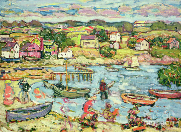 Wall Art - Painting - Landscape With Rowboats by Maurice Brazil Prendergast