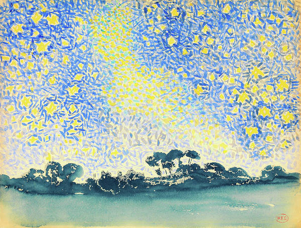 Wall Art - Painting - Landscape With Stars - Digital Remastered Edition by Henri Edmond Cross