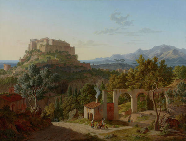 Wall Art - Painting - Landscape With The Castle Of Massa Di Carrara by Leo von Klense