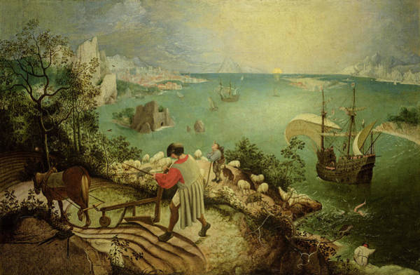 Wall Art - Painting - Landscape With The Fall Of Icarus, Circa 1560 by Pieter Bruegel the Elder