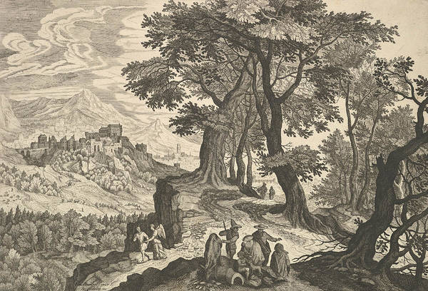 Relief - Landscape With Tobias And The Angel And Gypsies by Aegidius Sadeler