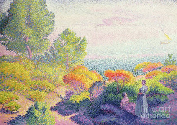 Wall Art - Painting - Landscape With Two Women, 1895  by Henri-Edmond Cross