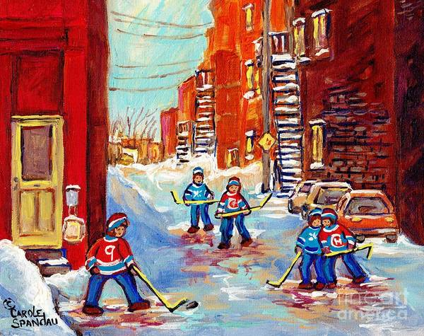 Painting - Laneway Hockey Game Off 4th Ave Verdun Winter Staircase Snow Scene C Spandau Southwest Montreal Art  by Carole Spandau