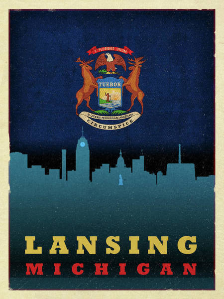 Wall Art - Mixed Media - Lansing City Skyline State Flag Of Michigan by Design Turnpike