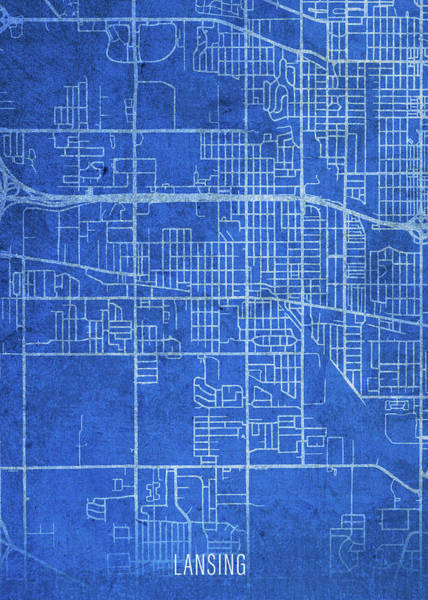 Wall Art - Mixed Media - Lansing Michigan City Street Map Blueprints by Design Turnpike