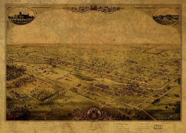 Wall Art - Mixed Media - Lansing Michigan Vintage City Street Map 1866 by Design Turnpike