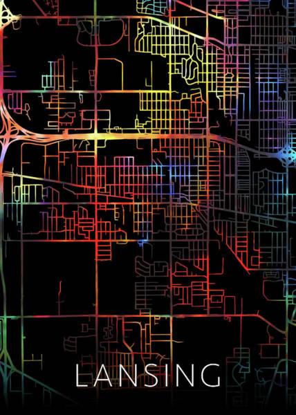 Wall Art - Mixed Media - Lansing Michigan Watercolor City Street Map Dark Mode by Design Turnpike