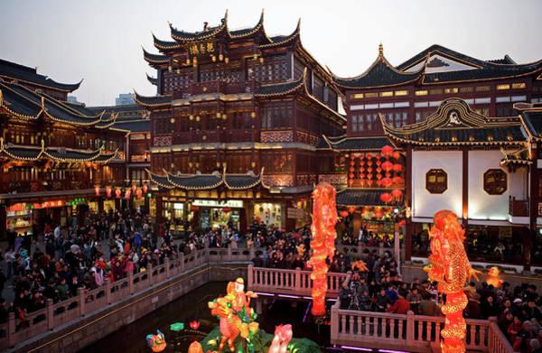 Chinese New Year Photograph - Lantern Festival At Yuyuan Bazaar by Richard I'anson