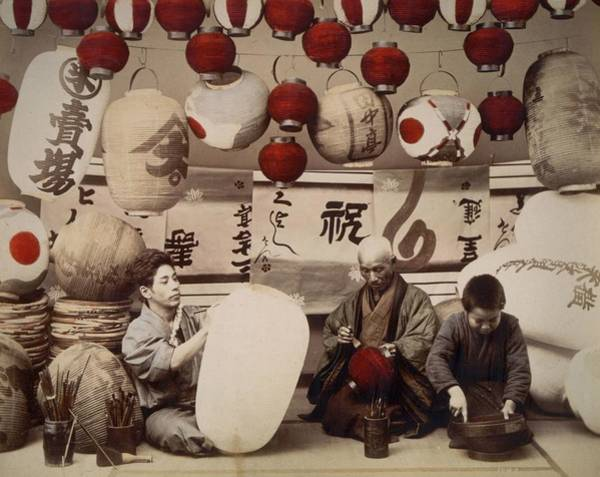 Archival Paper Photograph - Lantern Makers by Felice Beato