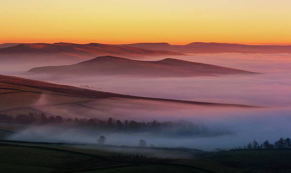 Peak District National Park Photograph - Lantern Pike, Hills Above Fog At Sunset by John Finney Photography