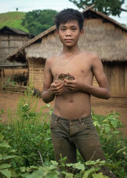 Photograph - Lao Boy And His Bird by Matt Shiffler