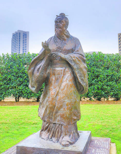 Photograph - Lao Tzu Houston Statue by Dan Sproul