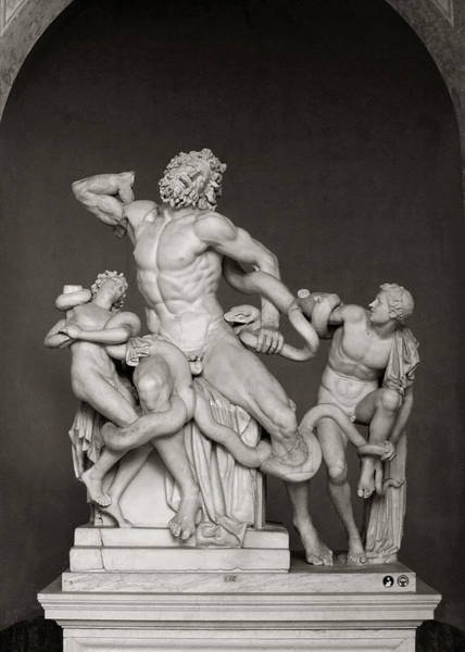 Photograph - Laocoon Group At The Vatican Museum In Rome Black And White by Angela Rath