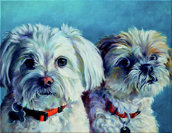 Maltipoo Wall Art - Painting - Deadly Duo by Robert Pankey