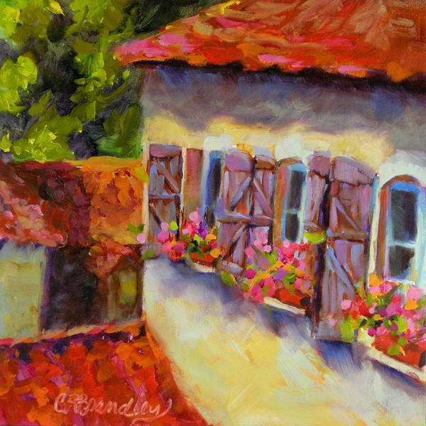 Slate Painting - Lapopie Purple Shutters by Chris Brandley
