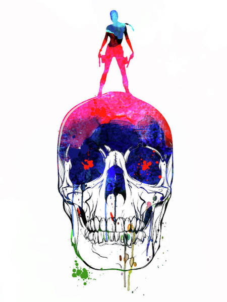 Wall Art - Mixed Media - Lara And The Skull Watercolor by Naxart Studio