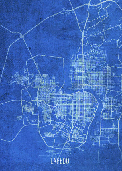 Wall Art - Mixed Media - Laredo Texas City Street Map Blueprints by Design Turnpike