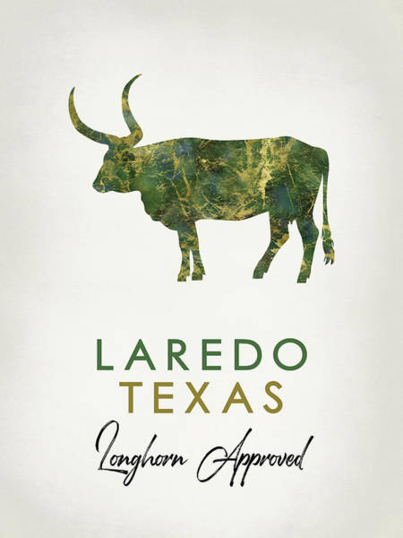 Longhorn Digital Art - Laredo Texas Dark Marble by Flo Karp