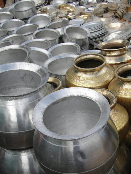 Photograph - Large Cooking And Water Pots  by Steve Estvanik