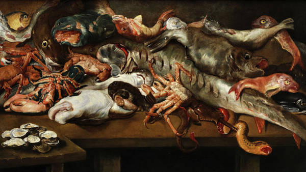 Arthropods Painting - Large Fish Still Life by Frans Snyders