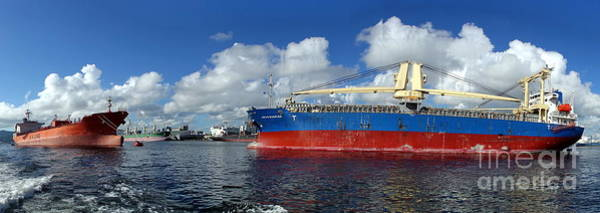 Photograph - Large Freight Ships In Kaohsiung Port by Yali Shi