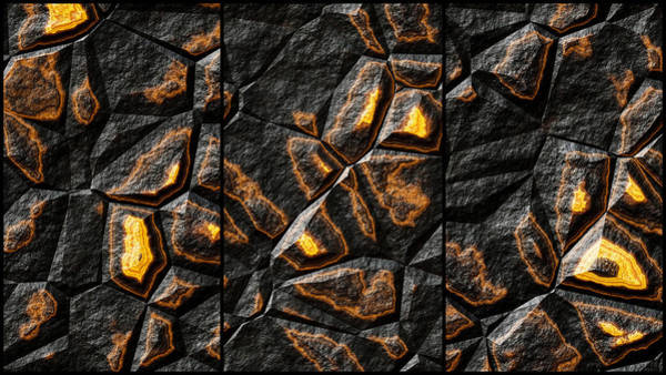 Digital Art - Large Gold Stone Triptych by Don Northup