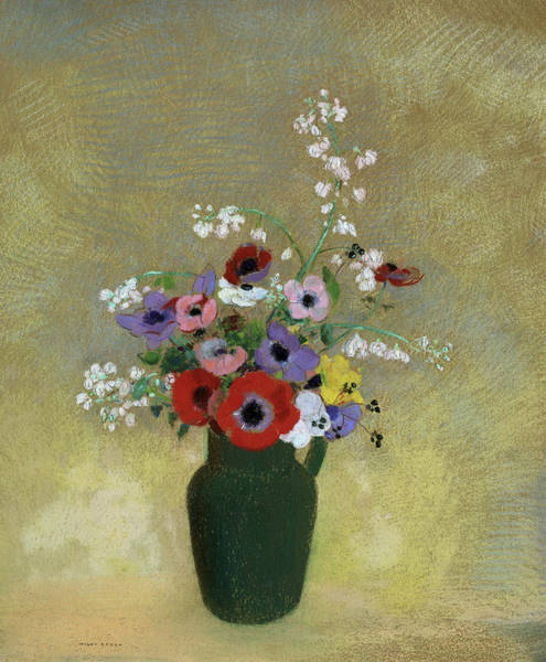 Gerbera Painting - Large Green Vase With Mixed Flowers, 1912 by Odilon Redon