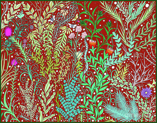 Tapestry - Textile - Large Millefleurs Tapestry Design In Dark Red by Lise Winne