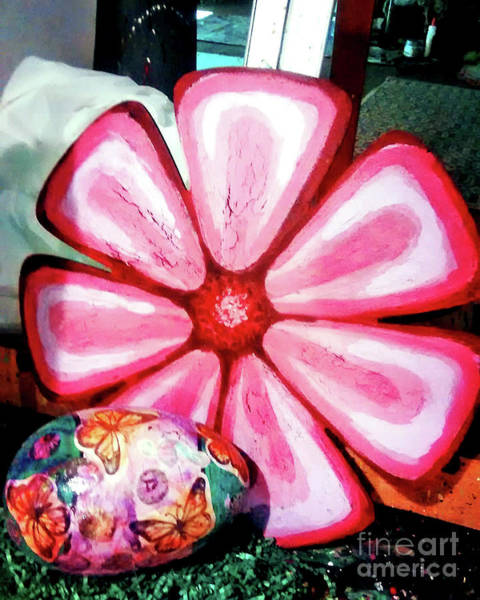 Wall Art - Painting - Large Painted Pink Flower Bulletin Board by Genevieve Esson