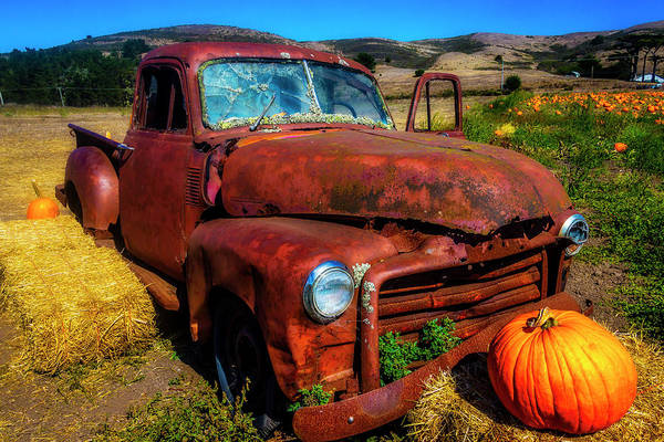 Wall Art - Photograph - Large Pumpkin And Od Rusty Truck by Garry Gay