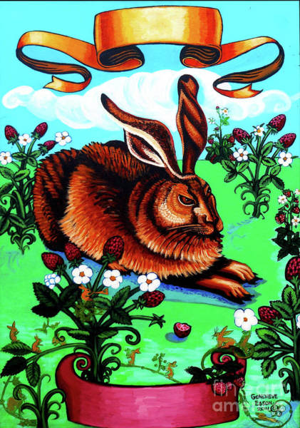 Wall Art - Painting - Large Rabbit With Gremlins by Genevieve Esson