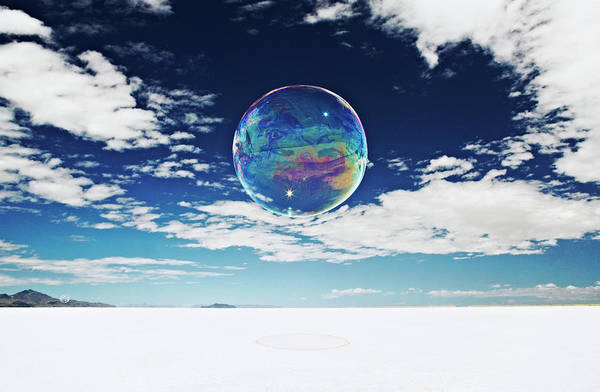 Wall Art - Photograph - Large, Round Bubble Floating Above Salt by Andy Ryan