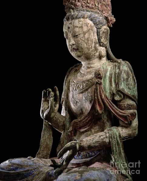 Wall Art - Photograph - Large Seated Bodhisattva With Hands Raised, Jin Dynasty by Chinese School
