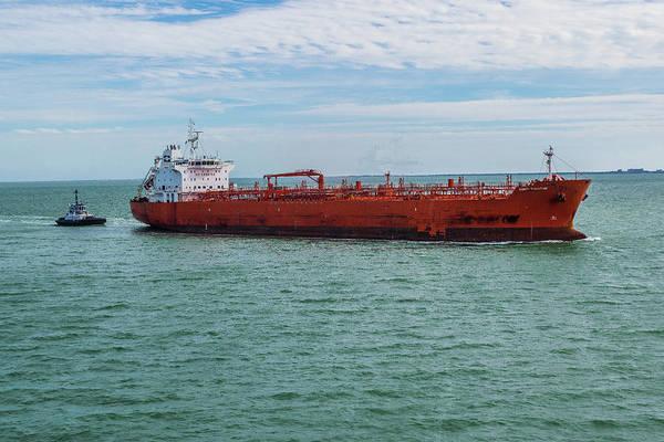 Wall Art - Photograph - Large Ship And Tugboat  by Edward Garey