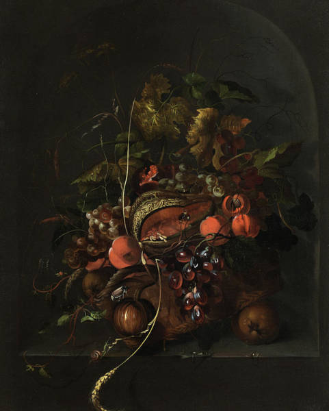 Wall Art - Painting - Large Still Life With Fruits And Insects In A Stone Niche by Abraham Mignon