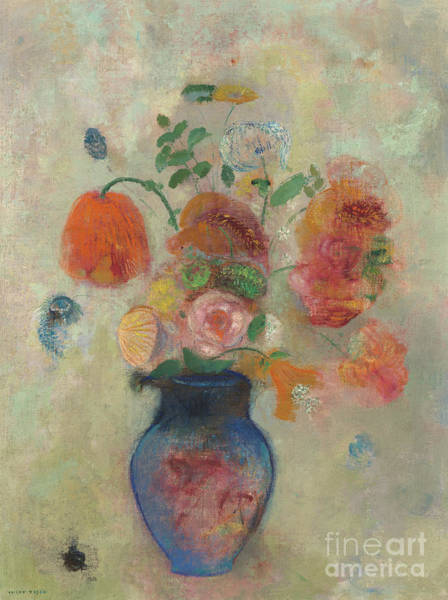 Wall Art - Painting - Large Vase With Flowers, Circa 1912 by Odilon Redon