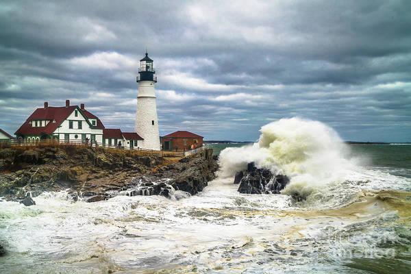 Cape Elizabeth Photograph - Large Wave At Portland Head Light by Benjamin Williamson