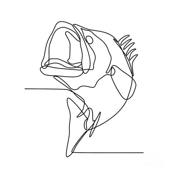 Wall Art - Digital Art - Largemouth Bass Jumping Continuous Line by Aloysius Patrimonio