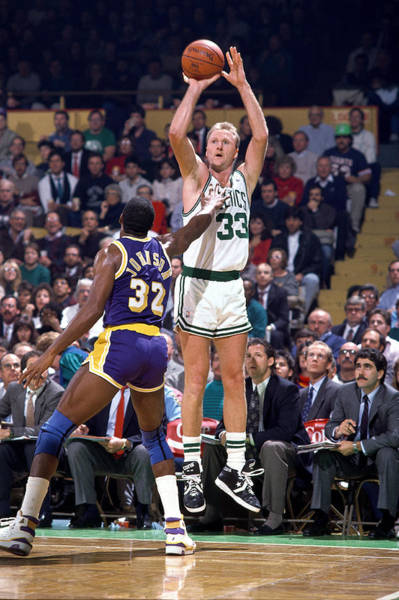 Larry Bird Jumpshot V Magic Art Print