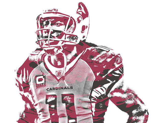 Cardinal Mixed Media - Larry Fitzgerald Arizona Cardinals Pixel Art 25 by Joe Hamilton