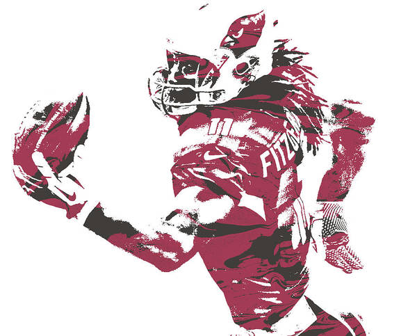 Cardinal Mixed Media - Larry Fitzgerald Arizona Cardinals Pixel Art 27 by Joe Hamilton