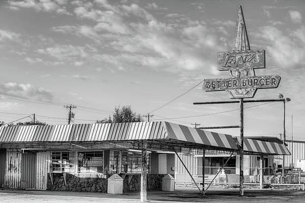 Photograph - Larrys Better Burger Black And White by JC Findley