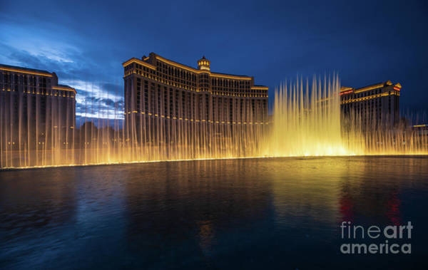 Wall Art - Photograph - Las Vegas Bellagio Night Fountains by Mike Reid
